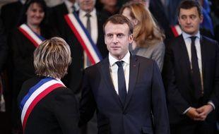 Emmanuel Macron le 16 janvier 2018 à Calais. BENOIT TESSIER / POOL / AFP