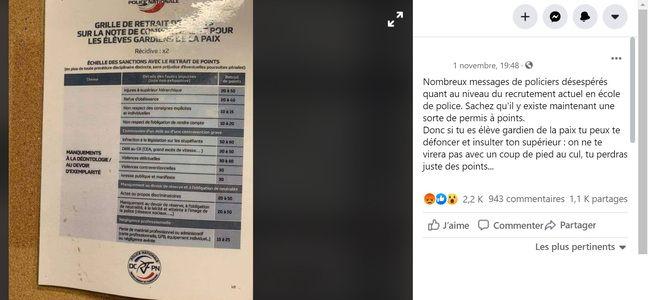La photo virale de la grille d'évaluation en école de police.