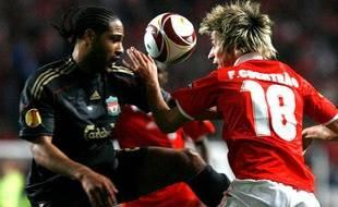 Benfica face à Liverpool, en match aller des quarts de finale de l'Europa League, le 1er avril à Lisbonne