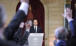 François Hollande lors de sa conférence de presse à l'Elysée, le 14 janvier 2014.