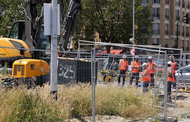 Travaux d'assainissement sur le futur chantier de la piscine olympique d'Aubervilliers - Le 09 juin 2021