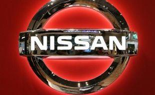 Le logo du géant automobile japonais Nissan pris au salon de l'automobile de Tokyo, le 2 novembre 2015