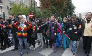 Manifestation de lycéens contre la réforme des retraites à Montreuil le 14 octobre 2010.