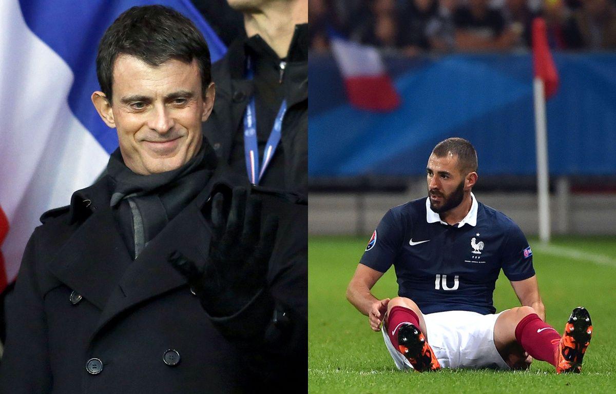 Manuel Valls et Karim Benzema.  – Montage 20 Minutes / SIPA