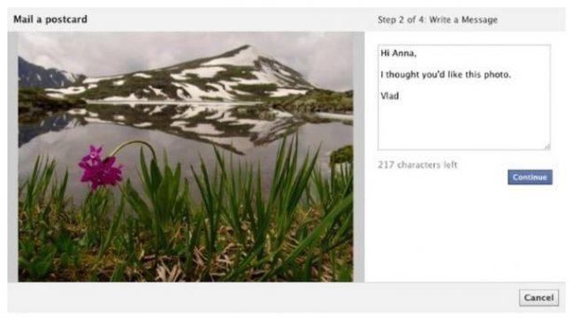 Facebook se lance dans l'envoi de cartes postales. – Capture du site Mashable