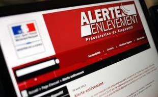 Vue en date du 28 août 2012 à Paris du site internet du ministère de la Justice présentant le dispositif «alerte enlèvement».