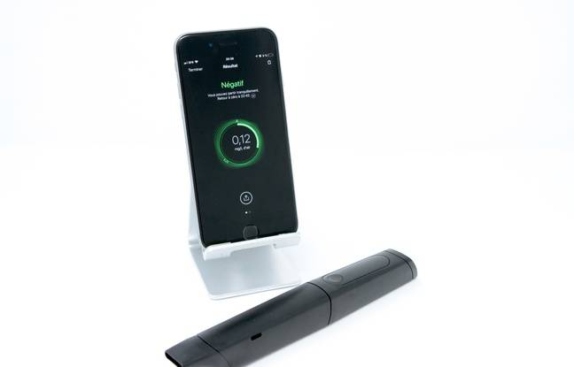L'application indique immédiatement le taux d'alcool dans l'air expiré par l'utilisateur.