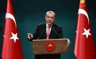 Le président turc Tayyip Erdogan lors d'une conférence de presse à Ankara
