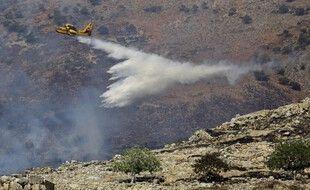 Un canadair largue des trombes d'eau pour éteindre les flammes lors d'un incendie de forêt près du site archéologique de Mycènes dans le nord-est du Péloponnèse, le 30 août 2020.