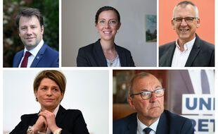 Loïg Chesnais-Girard, Claire Desmares-Poirrier, Thierry Burlot, Isabelle Le Callennec et Gilles Pennelle s'affronteront dimanche lors du second tour des élections régionales en Bretagne.