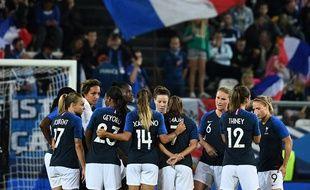 Les joueuses de l'équipe de France de football féminin au match France-Mexique à Amiens le 1er septembre 2018.