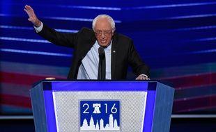 Bernie Sanders lors de son discours devant la convention démocrate le 25 juillet 2016 à Philadelphie