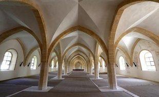 Le réfectoire des moines de l'abbaye de Clairvaux, le 19 mai 2015 à Ville-sous-la-Ferté dans l'Aube