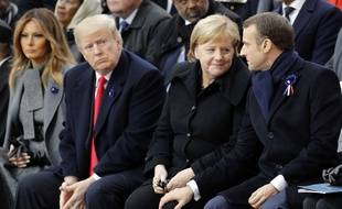 Donald Trump,Angela Merkel et Emmanuel Macron (de gauche à droite), le 11 novembre 2018 à Paris. (AP Photo/Francois Mori, Pool)/PAR183/18315467266685/POOL IMAGE/1811111405