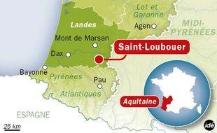 Carte de localisation de Saint-Loubouer, dans les Landes, où ont été découverts des ossements de nourrissons le 4 février 2014.