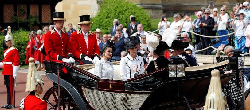 Le Prince William et la Duchesse de Cambridge, Kate Middleton avec le roi d'Espagne, Felipe VI et la reine Letizia quittant la chapelle St George à Windsor le 17 juin 2019.