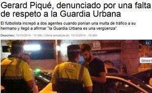 Capture d'écran de Gérard Piqué à la Vanguardia.com, le 15 octobre 2014
