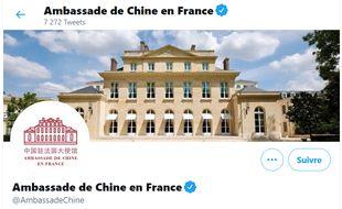 Capture d'écran du compte Twitter de l'ambassade de Chine en France.