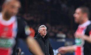 Carlo Ancelotti, l'entraîneur du PSG, le 21mars 2012, au Parc des Princes.