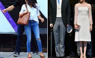 Le look de Meghan Markle avant et après son mariage avec le prince Harry.