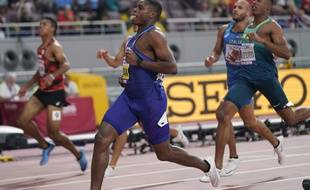 Christian Coleman remporte le 100m, aux mondiaux d'athlétisme de Doha, le 28 septembre 2019.