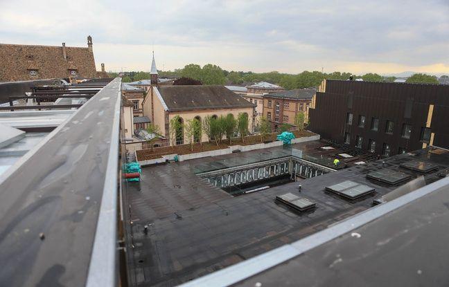 La terrasse le Cardo, bâtiment universitaire qui accueillera notamment Sciences po Strasbourg . Le 2 mai 2019.