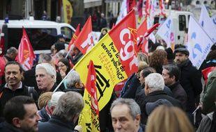 Manifestation de la fonction publique pour la défense des conditions de travail à l'appel de différents syndicats le 26 janvier 2016.