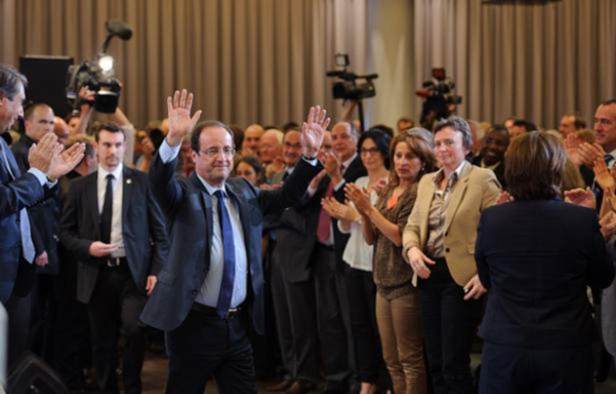 François Hollande fait ses adieux pour cinq ans au Parti socialiste à la Mutualité, à Paris, le 14 mai 2012. – A.GELEBART / 20 MINUTES