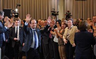 François Hollande fait ses adieux pour cinq ans au Parti socialiste à la Mutualité, à Paris, le 14 mai 2012.