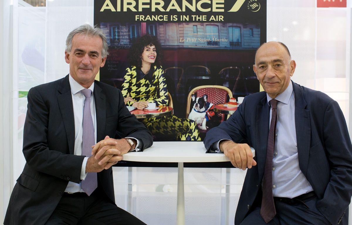 Le 20 septembre 2016, Frédéric Gagey pose avec Jean-Marc Janaillac, le boss d'Air France-KLM, qui le remplacera un peu plus d'un mois plus tard au poste de président d'Air France. – ROMUALD MEIGNEUX/SIPA