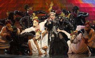 Madonna lors de sa performance à L'Eurovision, le 18 mai 2019.