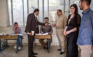 Jour de vote dans le Kurdistan irakien pour le référendum sur l'indépendance du Kurdistan. Ici un bureau de vote dans une école du quartier kurde d'Erbil le 25 septembre 2017.