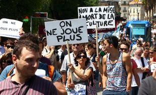 Manifestation d'intermittents du spectacle, le 16 juin 2014, à Montpellier.