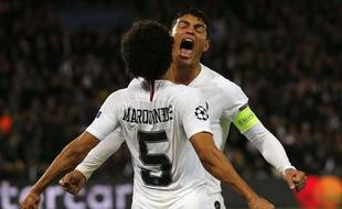 Thiago Silva et Marquinhos en transe après avoir contré Salah, lors de PSG-Liverpool, le 28 novembre 2018.