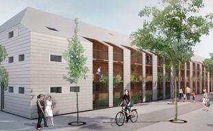 Image de synthèse du projet d'Eklo Hôtel, dans le quartier Bastide-Niel à Bordeaux