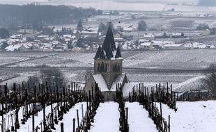 Ville-Dommange, petit village près de Reims, sous la neige ce lundi 19 mars 2018.