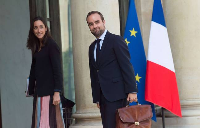 Sébastien Lecornu, secrétaire d'Etat auprès du ministre de la transition écologique et solidaire le 28 août 2017, ici en compagnie de Brune Poirson, elle aussi dans l'équipe rapprochée de Nicolas Hulot.