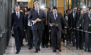 Les ministres Guillaume Garot (agroalimentaire), Stéphane Le Foll (Agriculture) et Benoît Hamon (Consommation), le 14 février 2013 à Bercy.