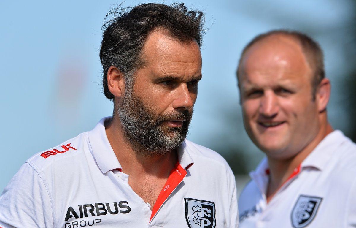 Ugo Mola et William Servat, les entraîneurs du Stade Toulousain. Illustration.  – N. Tucat / AFP