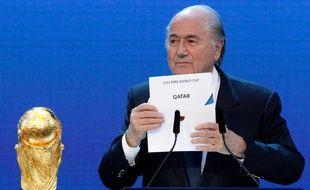 Le président de la Fifa, Sepp Blatter, lors de l'attribution de la Coupe du monde au Qatar, le 2 décembre 2010 à Zurich.