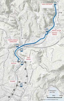 Le tracé envisagé (en bleu)