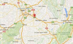 Carte situant Saint-Quentin-Fallavier