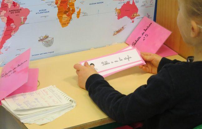Une élève de l'école maternelle Saint-André des Arts, le 26/03/2018.