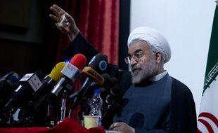Le président élu iranien Hassan Rohani, lors de la campagne le 30 mai 2013 à Téhéran.