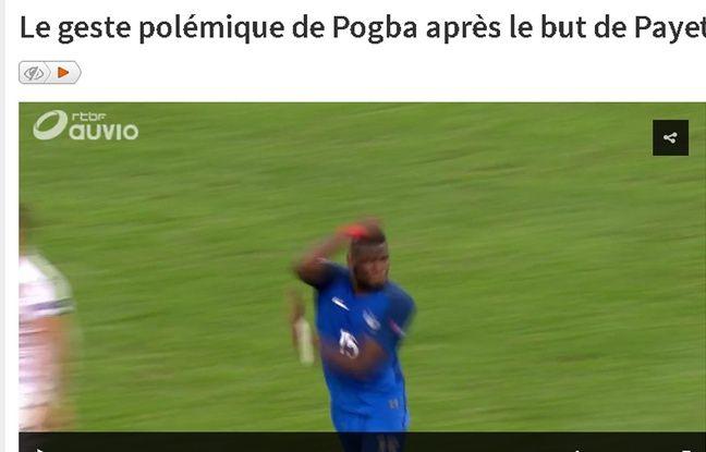 La vidéo du geste de Pogba diffusée sur le site de la RTBF