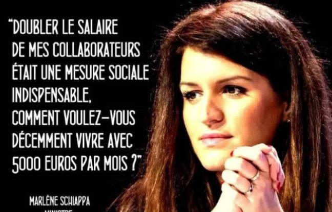 Le photomontage qui attribue une citation fictive (parodique) à Marlène Schiappa.