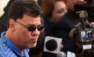 L'ancien président de la fédération salvadorienne de football, Reynaldo Vásquez, après son arrestation, le 16 décembre 2015