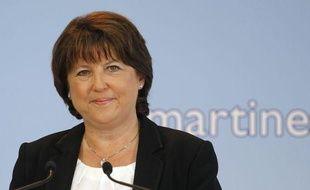 La Première secrétaire du Parti socialiste, Martine Aubry, lors d'annonce de sa candidature aux primaires socialistes à Lille, le 28 juin 2011.