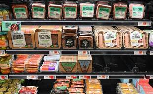 Le rayon des alternatives végétales à la viande animale dans un supermarché de New York, le 15 novembre 2019. (Photo illustration).