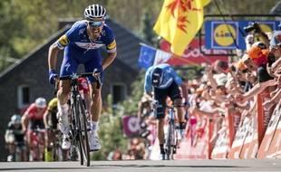 Julian Alaphilippe lors de sa victoire à la Flèche Wallonne en 2018.
